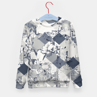 geometric square pixel pattern abstract in black and white Kid's sweater thumbnail image