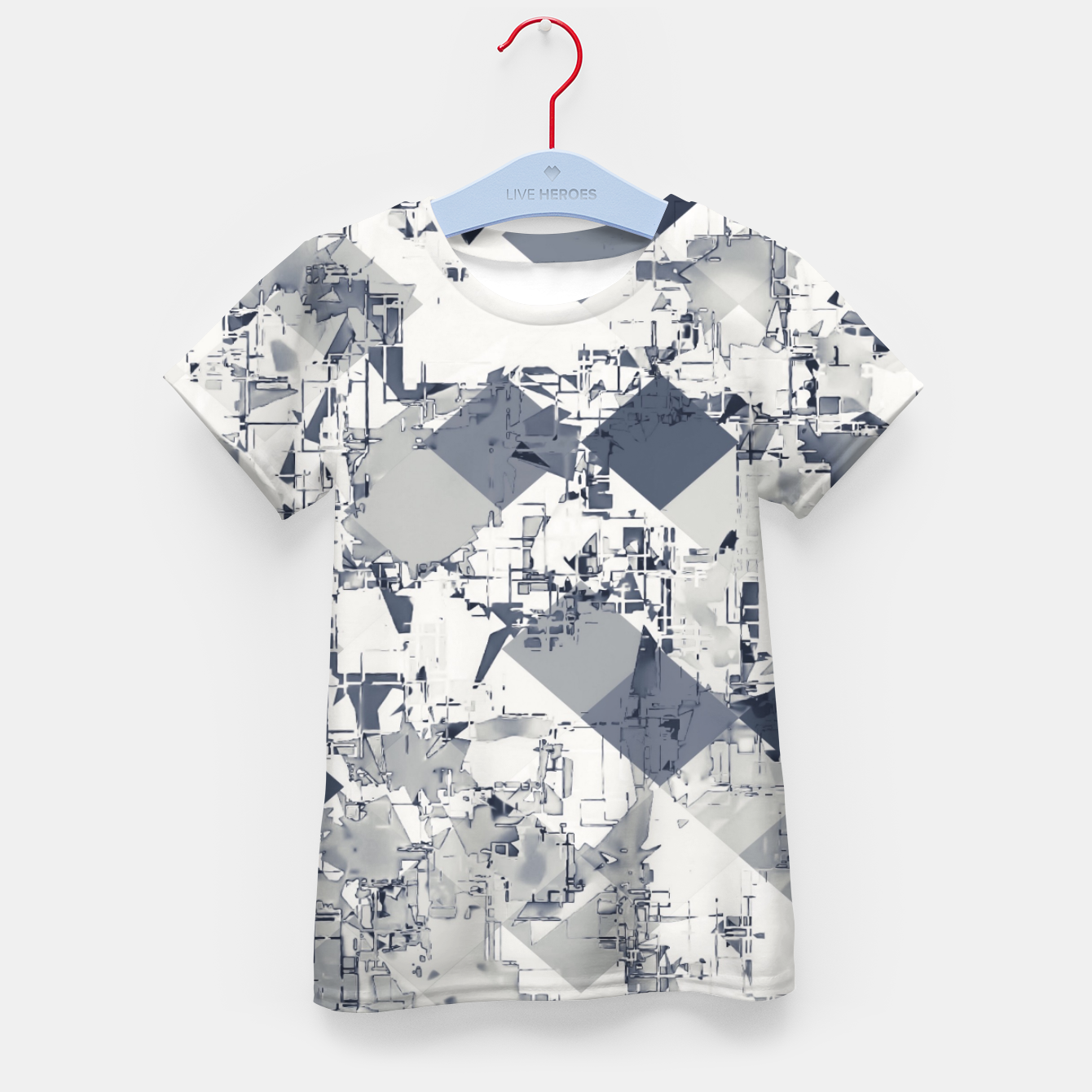 Foto geometric square pixel pattern abstract in black and white Kid's t-shirt - Live Heroes