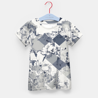 Miniatur geometric square pixel pattern abstract in black and white Kid's t-shirt, Live Heroes
