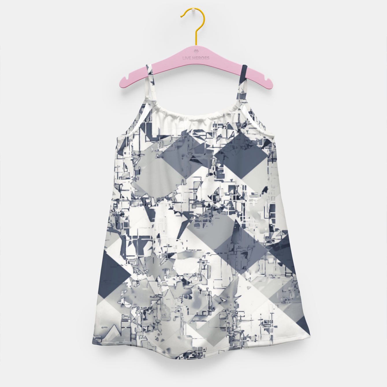 Foto geometric square pixel pattern abstract in black and white Girl's dress - Live Heroes