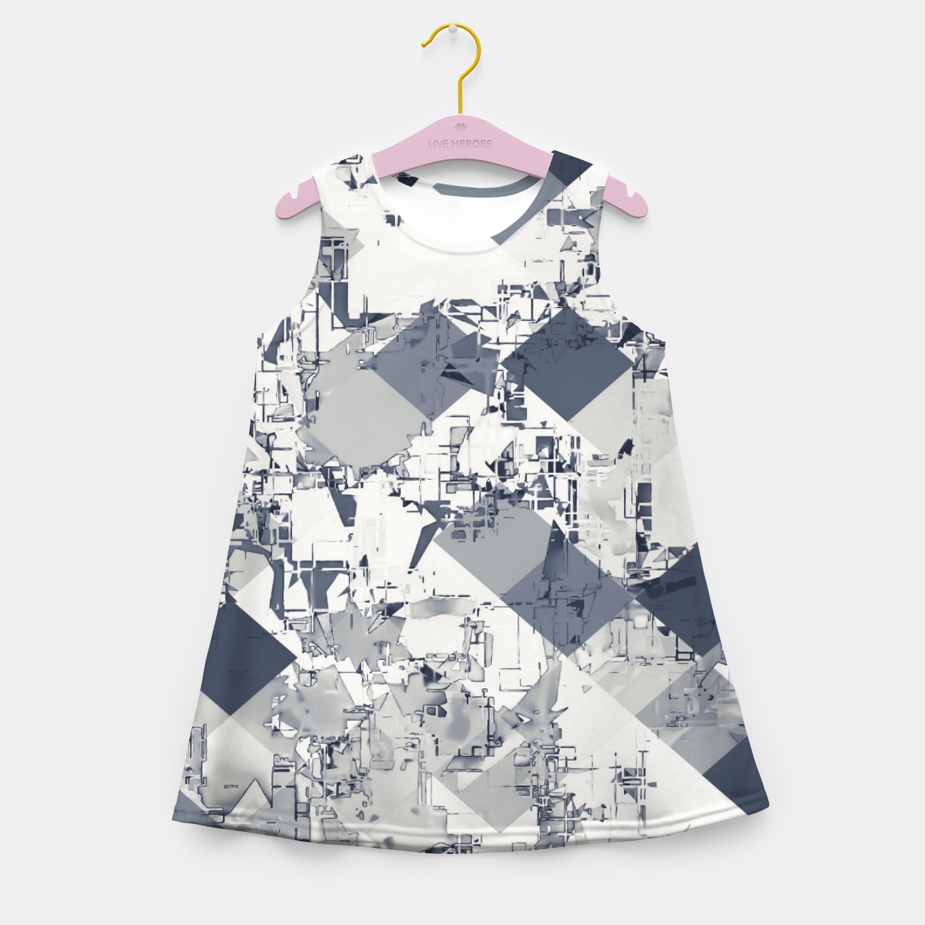 Image of geometric square pixel pattern abstract in black and white Girl's summer dress - Live Heroes