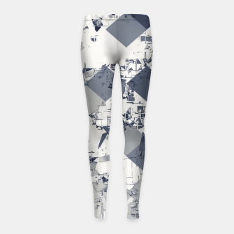 geometric square pixel pattern abstract in black and white Girl's leggings thumbnail image