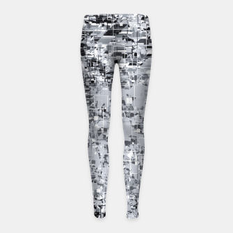 Thumbnail image of geometric pattern abstract in black and white Girl's leggings, Live Heroes
