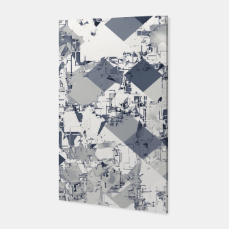 geometric square pixel pattern abstract in black and white Canvas thumbnail image