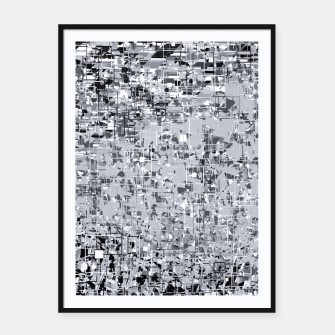 geometric pattern abstract in black and white Framed poster thumbnail image