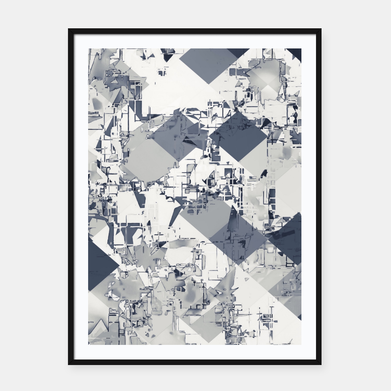 Image of geometric square pixel pattern abstract in black and white Framed poster - Live Heroes