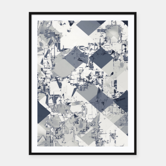 geometric square pixel pattern abstract in black and white Framed poster thumbnail image