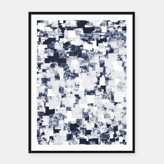 Thumbnail image of geometric square pattern abstract background in black and white Framed poster, Live Heroes
