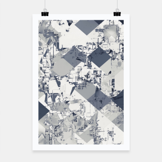 geometric square pixel pattern abstract in black and white Poster thumbnail image