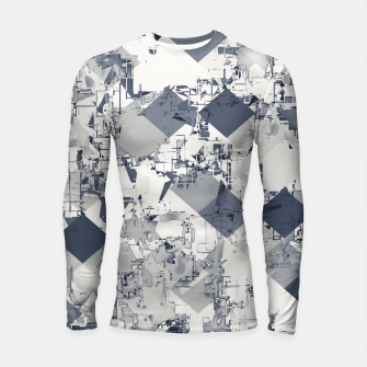 geometric square pixel pattern abstract in black and white Longsleeve rashguard  thumbnail image
