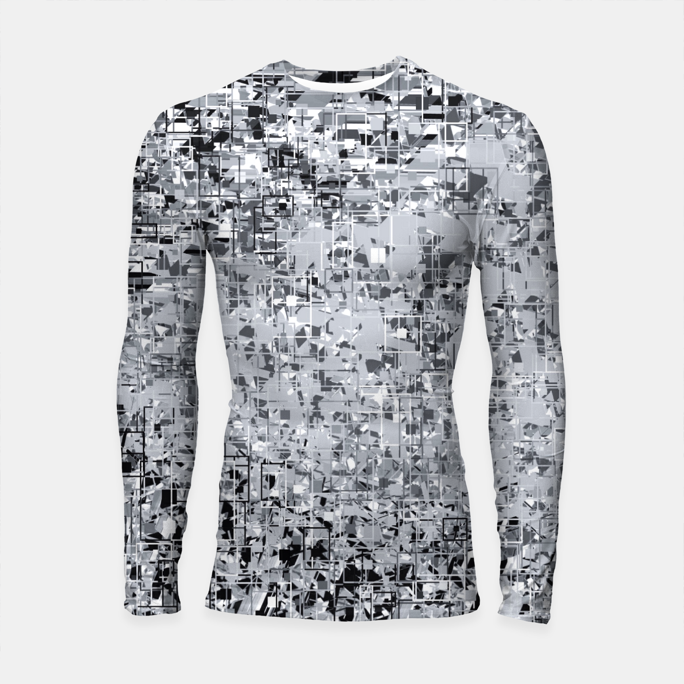Image of geometric pattern abstract in black and white Longsleeve rashguard  - Live Heroes