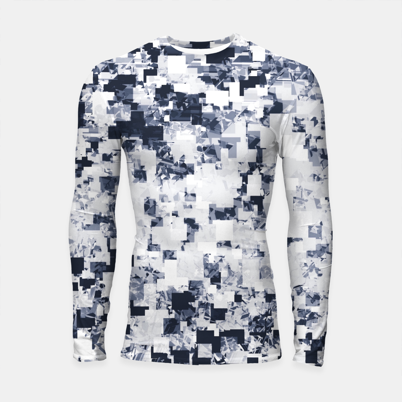 Image of geometric square pattern abstract background in black and white Longsleeve rashguard  - Live Heroes
