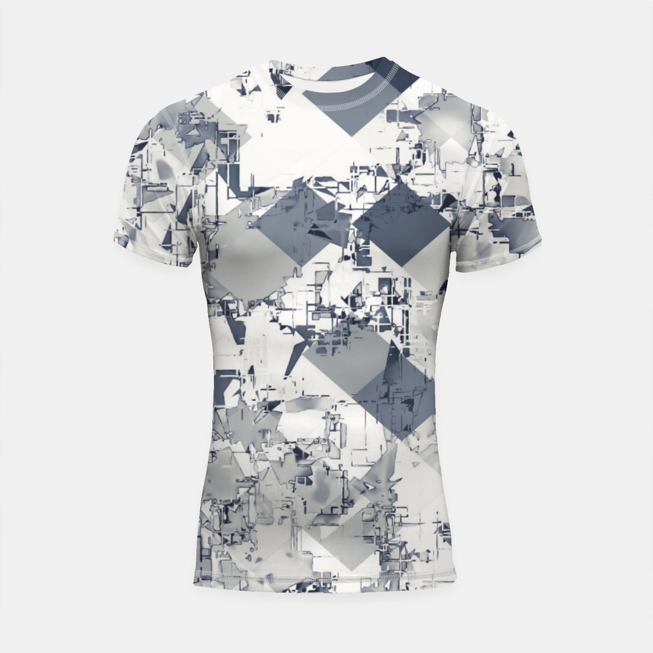 Image of geometric square pixel pattern abstract in black and white Shortsleeve rashguard - Live Heroes