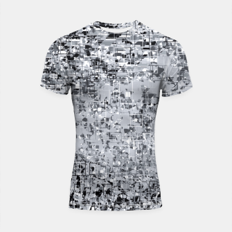 Thumbnail image of geometric pattern abstract in black and white Shortsleeve rashguard, Live Heroes