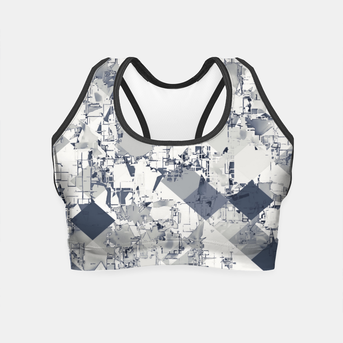 Image of geometric square pixel pattern abstract in black and white Crop Top - Live Heroes