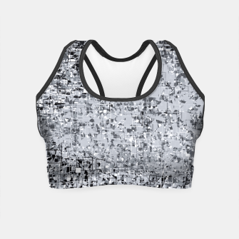 geometric pattern abstract in black and white Crop Top thumbnail image