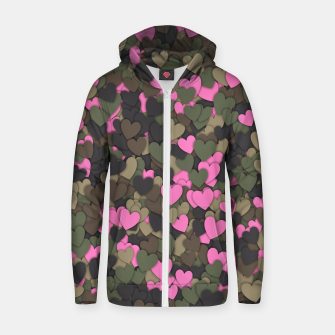 Thumbnail image of Hearts camouflage Zip up hoodie, Live Heroes