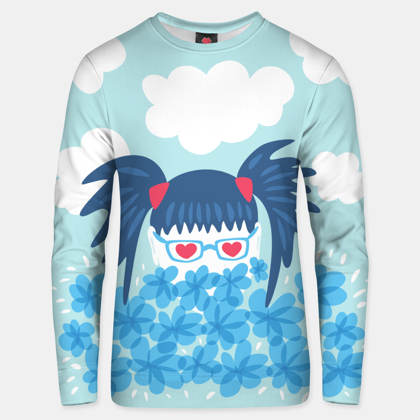Image of Geek Girl And Flowers Unisex sweater - Live Heroes