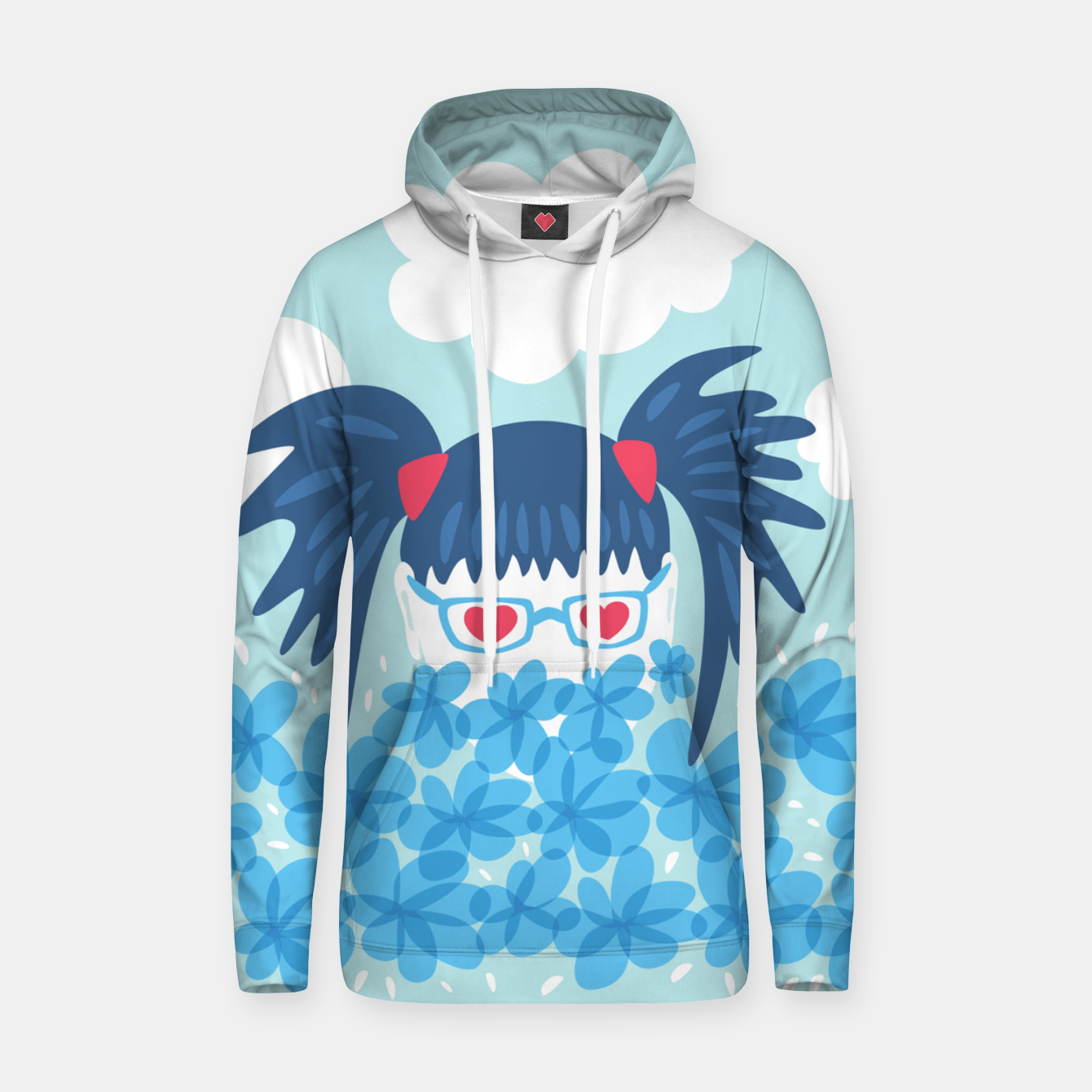 Image of Geek Girl And Flowers Hoodie - Live Heroes