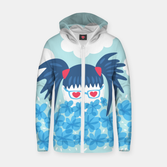 Geek Girl And Flowers Zip up hoodie thumbnail image