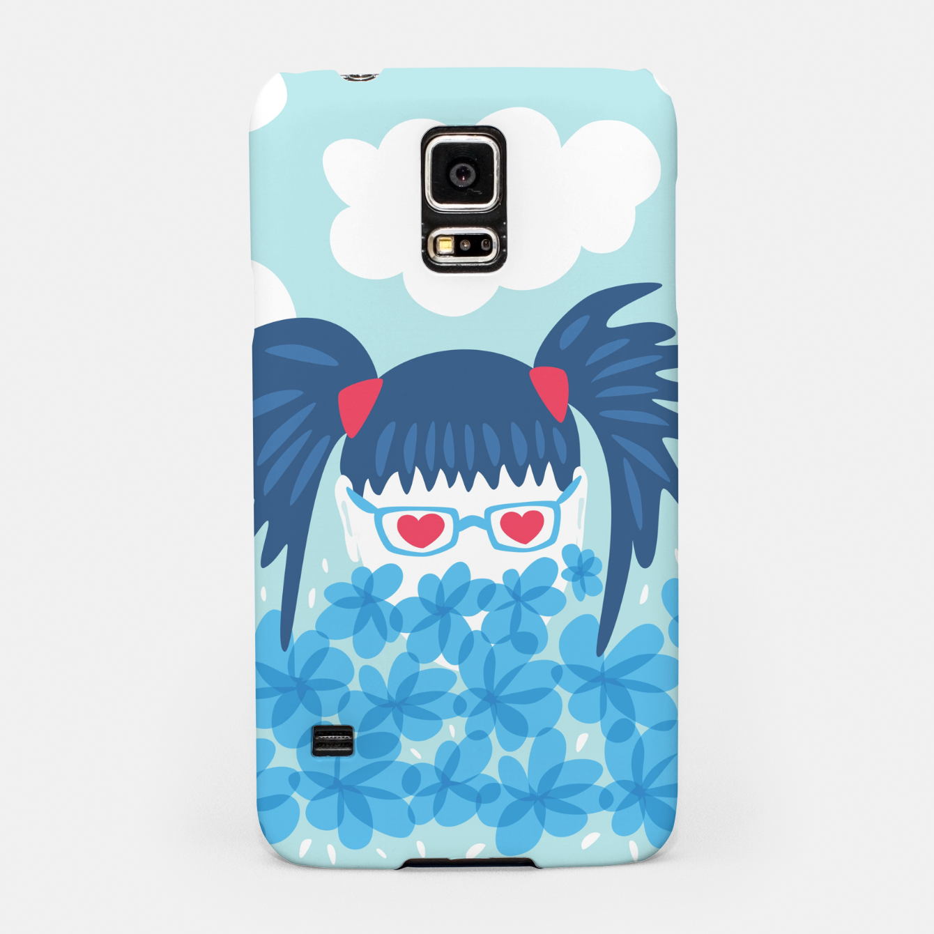 Image of Geek Girl And Flowers Samsung Case - Live Heroes