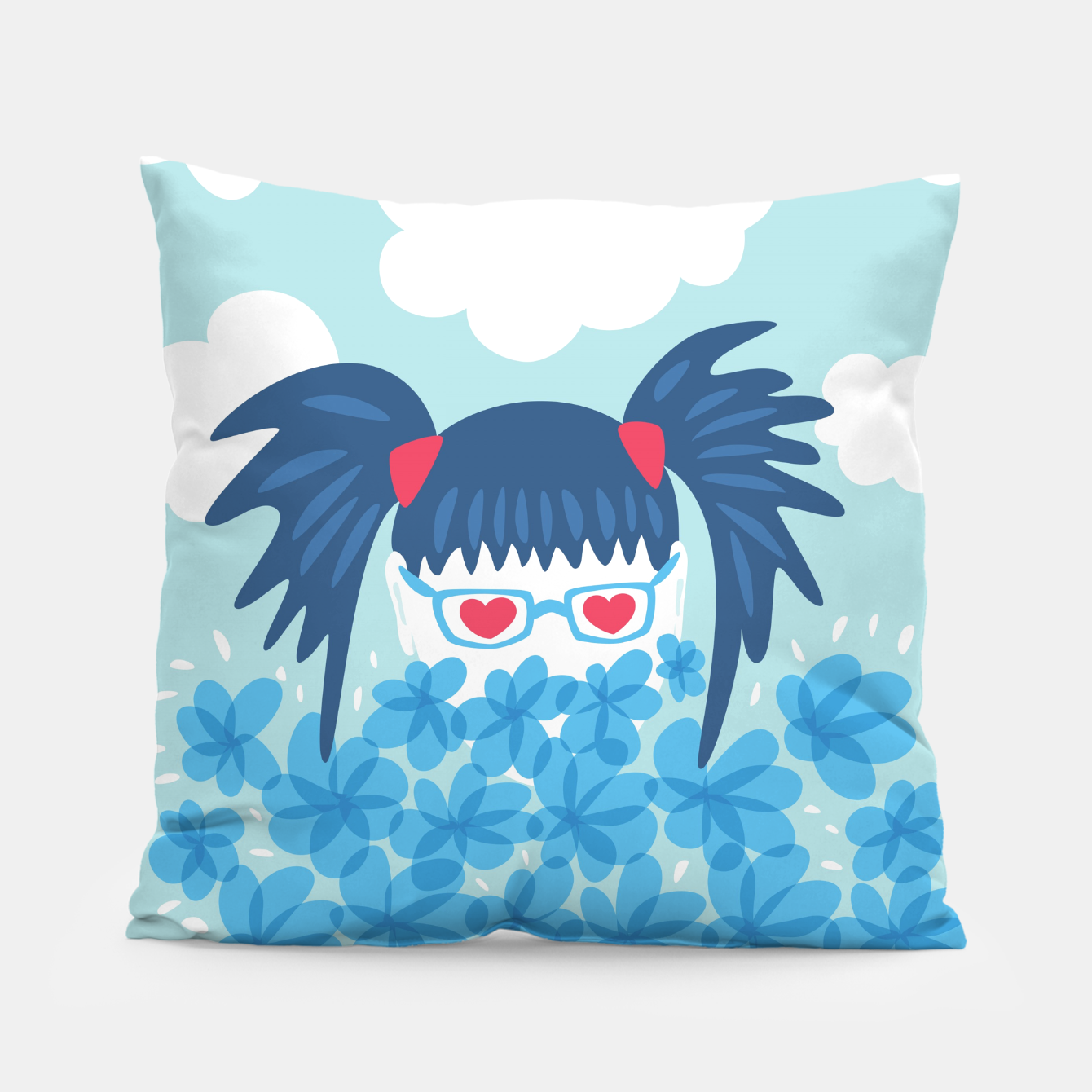 Image of Geek Girl And Flowers Pillow - Live Heroes