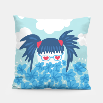 Thumbnail image of Geek Girl And Flowers Pillow, Live Heroes