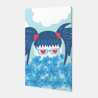 Geek Girl And Flowers Canvas thumbnail image