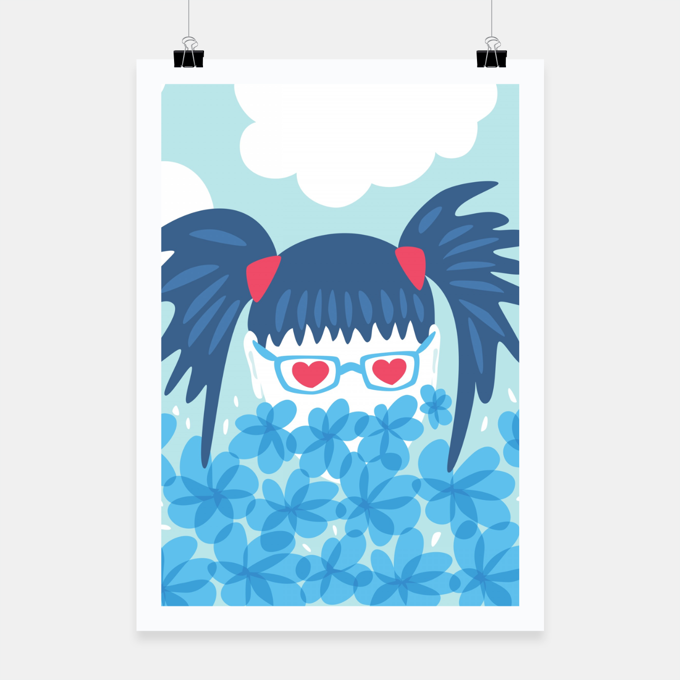 Image of Geek Girl And Flowers Poster - Live Heroes