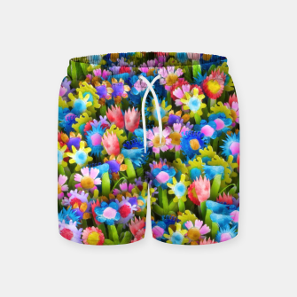 Miniatur Flowers. Children's drawings Swim Shorts, Live Heroes