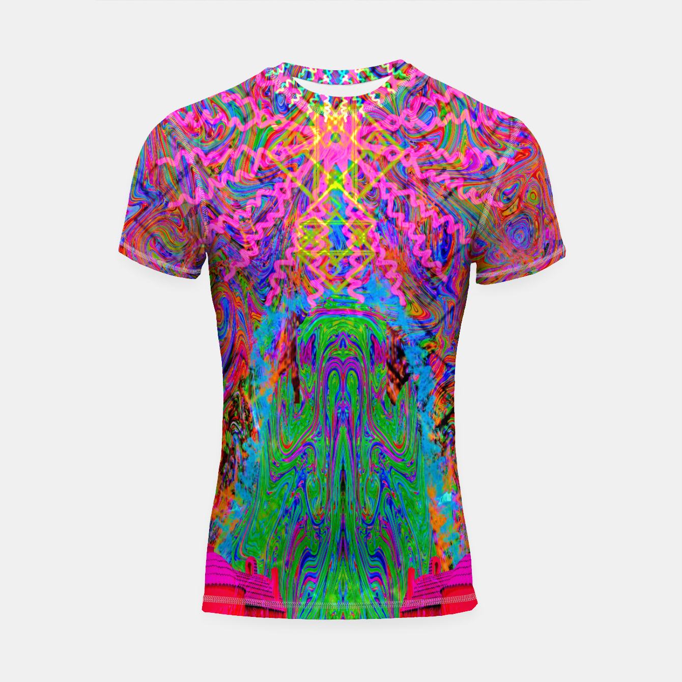 Image of Baked By A Southwest Prayer (trippy, psychedelic, abstract) Shortsleeve rashguard - Live Heroes