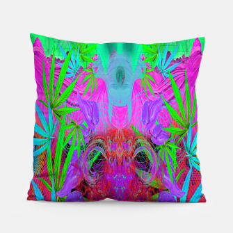 Devil's  Death Weed (marijuana, psychedelic, blacklight) Pillow thumbnail image