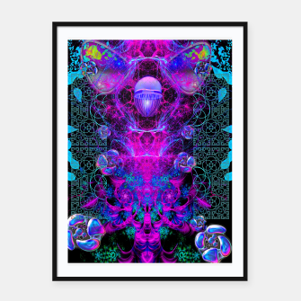 Thumbnail image of Mental Magenta Explosion (trippy, psychedelic, visionary art) Framed poster, Live Heroes