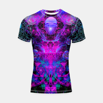 Thumbnail image of Mental Magenta Explosion (trippy, psychedelic, visionary art) Shortsleeve rashguard, Live Heroes