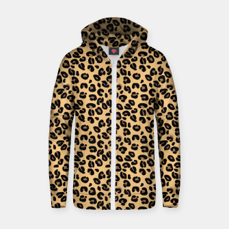 Miniatur Classic Black and Yellow / Brown Leopard Spots Animal Print Pattern Zip up hoodie, Live Heroes