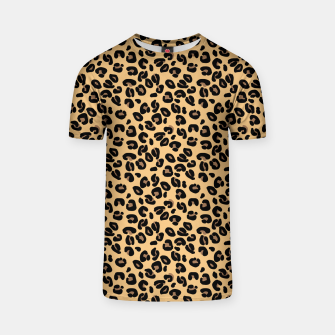 Miniatur Classic Black and Yellow / Brown Leopard Spots Animal Print Pattern T-shirt, Live Heroes
