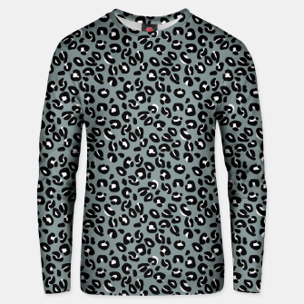 Miniatur Grey and Black Leopard Spots Animal Print Pattern Unisex sweater, Live Heroes