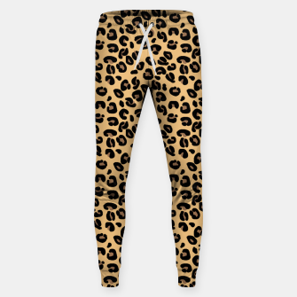 Miniatur Classic Black and Yellow / Brown Leopard Spots Animal Print Pattern Sweatpants, Live Heroes