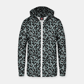 Miniatur Grey and Black Leopard Spots Animal Print Pattern Zip up hoodie, Live Heroes