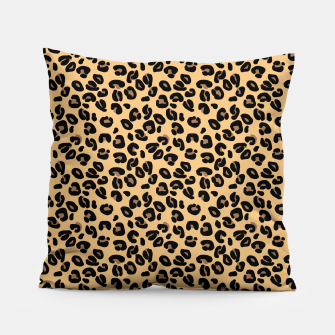 Miniatur Classic Black and Yellow / Brown Leopard Spots Animal Print Pattern Pillow, Live Heroes