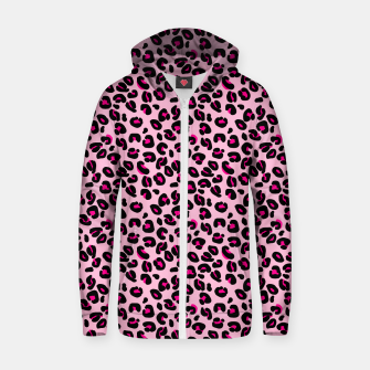 Miniatur Soft Pink and Black Leopard Spots Animal Print Pattern Zip up hoodie, Live Heroes