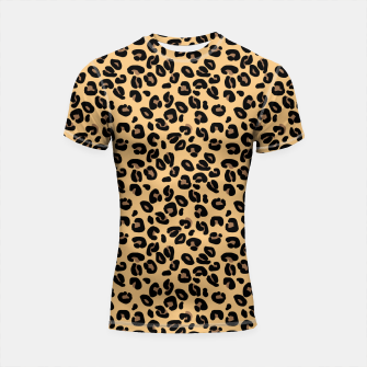 Miniatur Classic Black and Yellow / Brown Leopard Spots Animal Print Pattern Shortsleeve rashguard, Live Heroes
