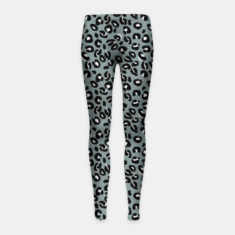 Miniatur Grey and Black Leopard Spots Animal Print Pattern Girl's leggings, Live Heroes