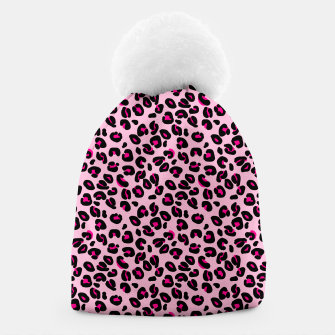 Miniatur Soft Pink and Black Leopard Spots Animal Print Pattern Beanie, Live Heroes