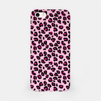 Miniatur Soft Pink and Black Leopard Spots Animal Print Pattern iPhone Case, Live Heroes
