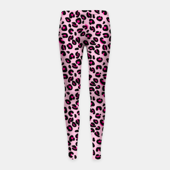 Miniatur Soft Pink and Black Leopard Spots Animal Print Pattern Girl's leggings, Live Heroes