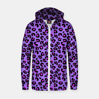 Miniatur Bright Purple Leopard Spots Animal Print Pattern Zip up hoodie, Live Heroes