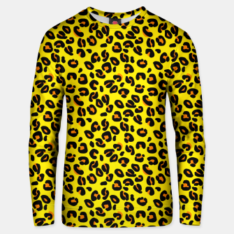 Lemon Yellow Leopard Spots Animal Print Pattern Unisex sweater imagen en miniatura