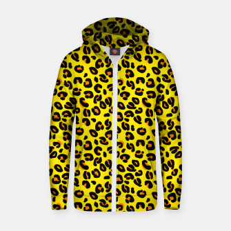 Lemon Yellow Leopard Spots Animal Print Pattern Zip up hoodie imagen en miniatura