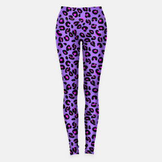 Imagen en miniatura de Bright Purple Leopard Spots Animal Print Pattern Leggings, Live Heroes